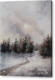 Acrylic Print featuring the painting Winters Sunset by Brenda Thour
