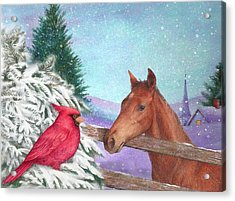 Winterscape With Horse And Cardinal Acrylic Print