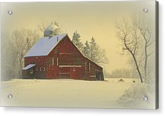 Wintery Barn Acrylic Print by Julie Lueders