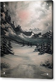 Wintery Mountain Acrylic Print by John Koehler
