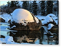 Acrylic Print featuring the photograph Wintery Rock by Edward R Wisell