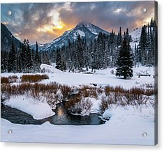 Wintery Wasatch Sunset Acrylic Print