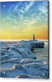 Wintry River Channel Acrylic Print