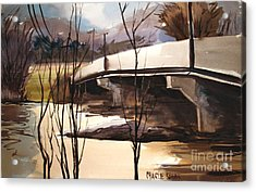 Wintry Wabash Flooding Framed And Matted Acrylic Print