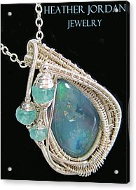 Wire-wrapped Australian Opal Pendant In Sterling Silver With Blue Apatite Abopss3 Acrylic Print