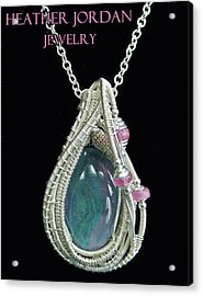 Wire-wrapped Australian Opal Pendant In Sterling Silver With Pink Sapphires Abopss2 Acrylic Print