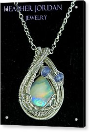 Wire-wrapped Australian Opal Pendant In Sterling Silver With Tanzanite Auopss1 Acrylic Print
