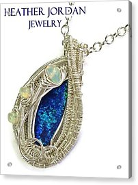 Wire-wrapped Coober Pedy Australian Opal Pendant In Sterling Silver With Ethiopian Opals Abopss Acrylic Print