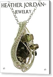 Wire-wrapped Seymchan Pallasite Meteorite Pendant In Sterling Silver With Green Tourmaline Crystals  Acrylic Print