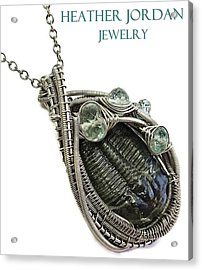 Wire-wrapped Trilobite Fossil Pendant In Antiqued Sterling Silver With Aquamarine Trilss8 Acrylic Print