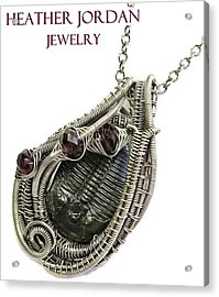 Wire-wrapped Trilobite Fossil Pendant In Antiqued Sterling Silver With Rhodolite Garnet Trilss7 Acrylic Print