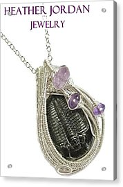 Wire-wrapped Trilobite Fossil Pendant In Sterling Silver With Amethyst Trilss10 Acrylic Print
