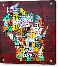 Wisconsin Counties Vintage Recycled License Plate Map Art On Red Barn Wood Acrylic Print