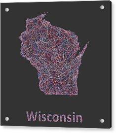 Wisconsin Map Acrylic Print by David Zydd
