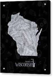 Wisconsin Map Music Notes 2 Acrylic Print