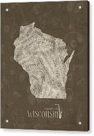 Wisconsin Map Music Notes 3 Acrylic Print