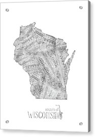 Wisconsin Map Music Notes Acrylic Print