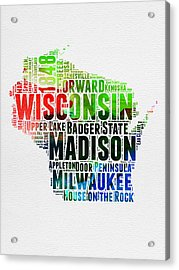 Wisconsin Watercolor Word Cloud Map  Acrylic Print