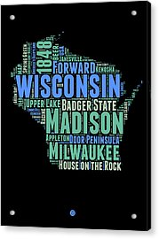 Wisconsin Word Cloud Map 1 Acrylic Print