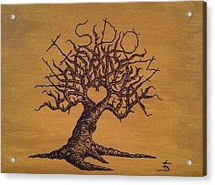 Acrylic Print featuring the drawing Wisdom Love Tree by Aaron Bombalicki