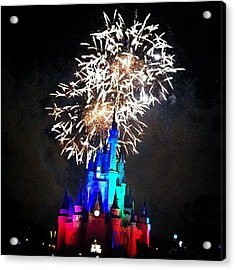 Wishes Fireworks Show Acrylic Print by Lea Ward