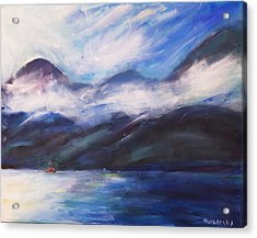 Acrylic Print featuring the painting Wispy Clouds by Yulia Kazansky