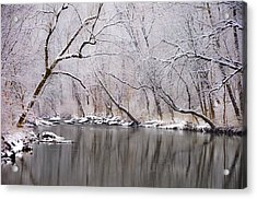 Wissahickon Creek In A Winter Wonderland Acrylic Print by Bill Cannon