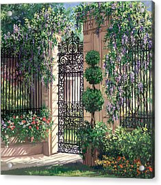 Wisteria Gate Acrylic Print by Laurie Hein