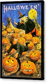 Witch In The Pumpkin Patch Acrylic Print by Unknown