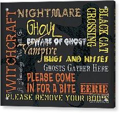 Witchcraft Typography Acrylic Print by Debbie DeWitt