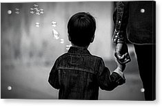 With Dad And Bubbles Acrylic Print by Dieter Lesche