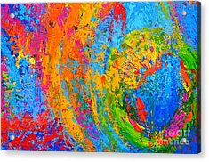 Within Circles 2 - Colorful Modern Abstract  Painting Palette Knife Work Acrylic Print