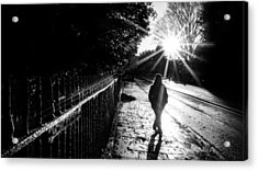 With The Sun Behind - Dublin, Ireland - Black And White Street Photography Acrylic Print by Giuseppe Milo