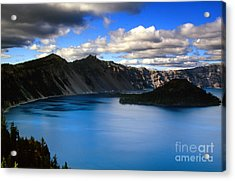 Wizard Island Stormy Sky- Crater Lake Acrylic Print