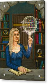 Wizards Library Acrylic Print by Roz Eve