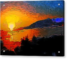 Wnw Sunset Acrylic Print by A Blackwell