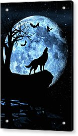 Wolf Howling At Full Moon With Bats Acrylic Print