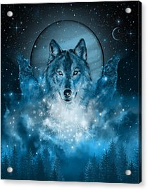 Wolf In Blue Acrylic Print