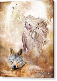 Wolf Moon Goddess Acrylic Print by Carol Cavalaris