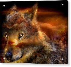 Wolfland Acrylic Print by Carol Cavalaris