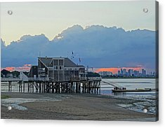 Wollaston Beach Quincy Ma Sunset Boston Skyline Quincy Ma Acrylic Print