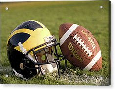 Wolverine Helmet With Football On The Field Acrylic Print
