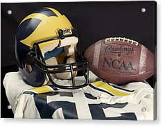 Wolverine Helmet With Jersey And Football Acrylic Print