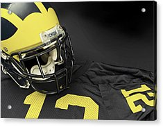 Wolverine Helmet With Jersey Acrylic Print