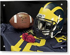 Wolverine Helmet With Roses, Jersey, And Football Acrylic Print