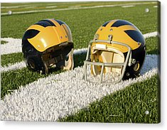 Wolverine Helmets From Different Eras On The Field Acrylic Print