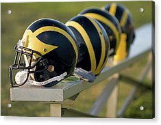Wolverine Helmets On A Bench Acrylic Print