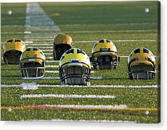 Wolverine Helmets Throughout History On The Field Acrylic Print