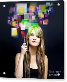 Woman Accessing Digital Media With Touch Screen Acrylic Print