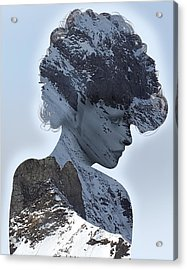 Woman And A Snowy Mountain Acrylic Print